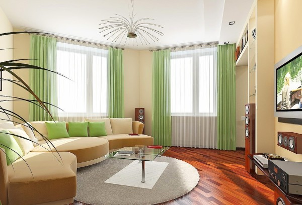 дизайн зала в частном доме фото с 3-мя окнами #7