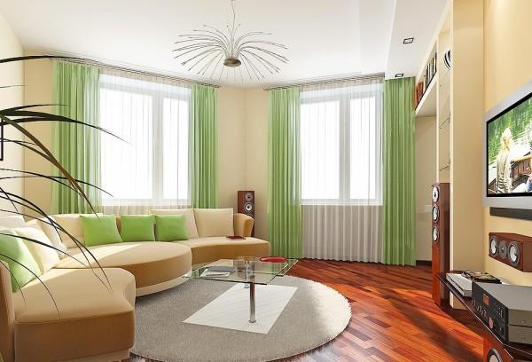 Дизайн большой гостиной с двумя окнами